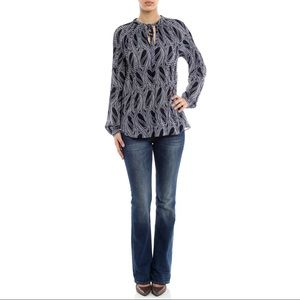 Michael Kors Printed Tie-Front Blouse NWT